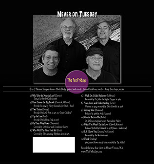 Image of the back cover of the Never on Tuesday CD